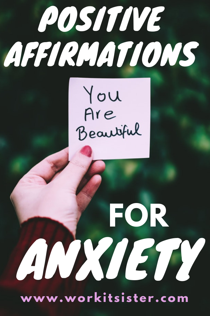 Stop your negative self talk and reduce anxiety with 20 beautiful positive affirmations. Learn how to use them as part of your daily self care routine, to calm you down, improve your mindset and if you\'re having a panic attack! #affirmations #positiveaffirmations #selfcare #mindset #panicattack
